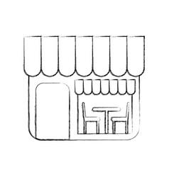 Restaurant exterior window door chair table vector