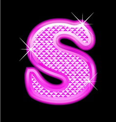 S letter pink bling girly vector image vector image