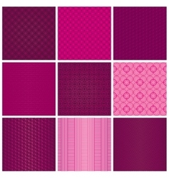 Set of seamless magenta patterns vector image