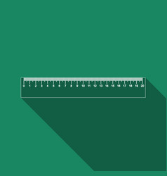 straightedge symbol ruler icon with long shadow vector image vector image