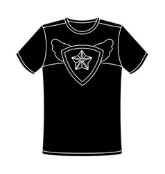 T-shirt fan with printfans single icon in black vector