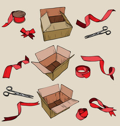 vintage ribbon and red delivery cardboard box vector image vector image