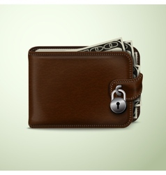 Wallet locked with padlock vector image