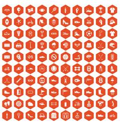100 sneakers icons hexagon orange vector image