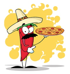 Sombrero Chile Pepper Holds Up Hot Pizza vector image