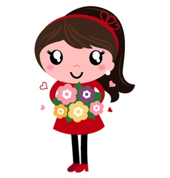 Retro mom holding flowers for mothers day vector