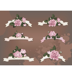 Collection of a different ribbon roses vector