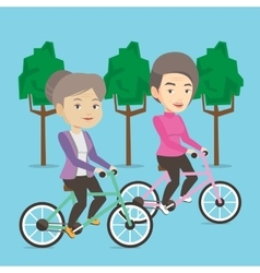 Senior women riding on bicycles in the park vector