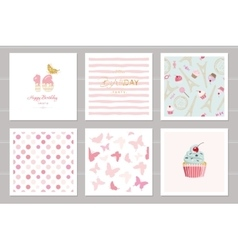 Birthday cards set for teenage girls including vector