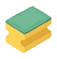 Dishwashing sponge icon in cartoon style isolated vector image