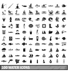 100 water icons set in simple style vector image