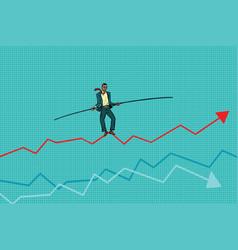 businessman tightrope walke schedule of sales vector image