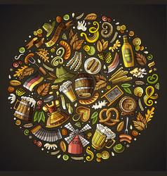 Set of beer cartoon doodle objects symbols vector