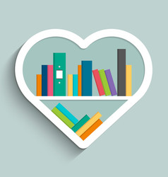 Bookshelf in form of heart with colorful books vector