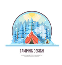 Flat style design of winter forest and camping vector