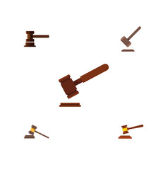 Flat icon lawyer set of court justice government vector