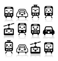 Kawaii cute icons - car bus train tram vector image