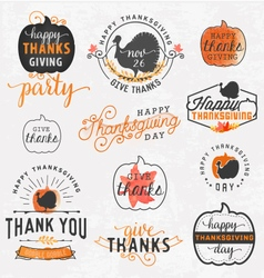 Thanksgiving day design elements in vintage style vector