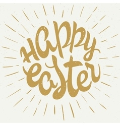 hand drawn easter lettering golden greeting vector image