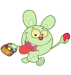 Green bunny running and holding up an egg vector