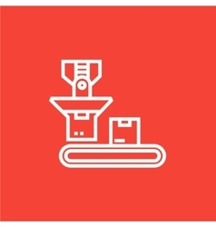 Robotic packaging line icon vector