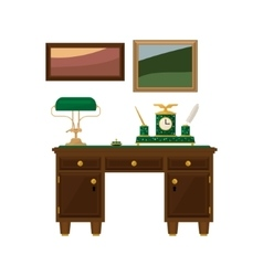 Antique wooden home office desk vector