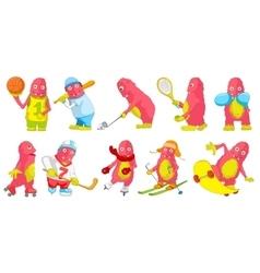 set of pink monsters sport cartoon vector image