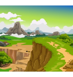beauty cliff with mountain landscape background vector image vector image