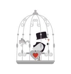 Bird cage love vector