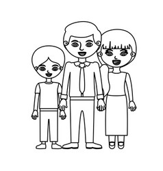 Black contour family group in formal suit vector