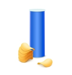 Blue tin box with stack of potato crispy chips vector