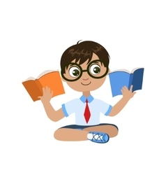 Boy Reading Two Books At The Same Time vector image vector image
