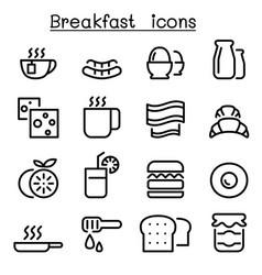 breakfast icons in thin line style vector image vector image