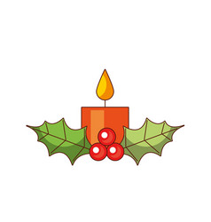 christmas candle burning with holly berry leaves vector image