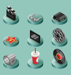 cinema color isometric icons vector image