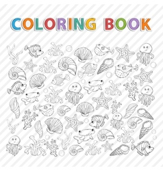 Coloring bookmarine life vector