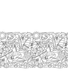 Doodle summer beach seamless border vector