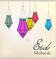Eid mubarak background with colorful arabic lamps vector