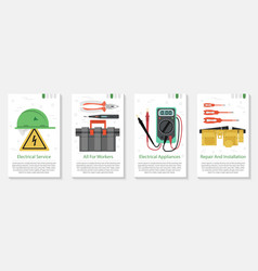 Four banner for electrical equipment vector