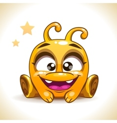 Funny cartoon sitting yellow alien monster vector image