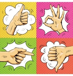 Hand signs in retro pop art style cartoon comic vector