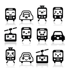 Kawaii cute icons - car bus train tram vector