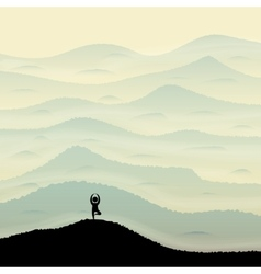 Mountain hill with yoga silhouette vector