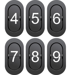 Numeric series 4 to 9 from mechanical scoreboard vector
