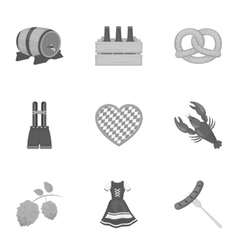 Oktoberfest set icons in monochrome style big vector
