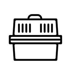 Pet carrier Flat linear icon product for pets vector image
