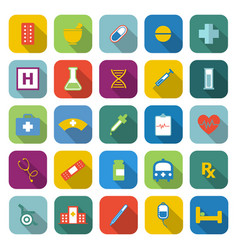 pharmacy color icons with long shadow vector image vector image