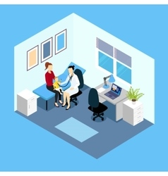 Reception at pediatrician isometric design vector