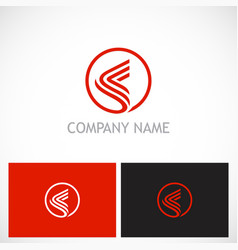 round abstract line company logo vector image vector image