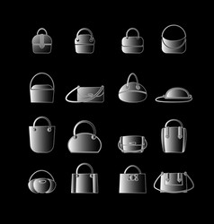 Set of white icons of womens bags vector